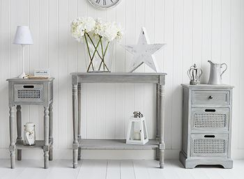 British Colonial Furniture. Grey furniture, console and lamp tables in Shabby Chic,Coastal, French,Scandi, danish and New England styles from The White Lighthouse