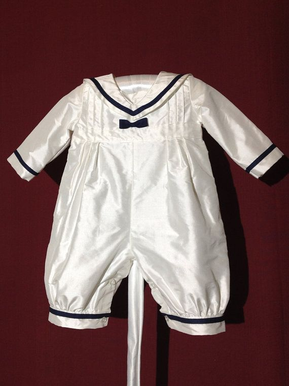 Noble christening outfit sailor suit jumpsuit of dupioni silk in maritime look navy special occasions wedding birthday
