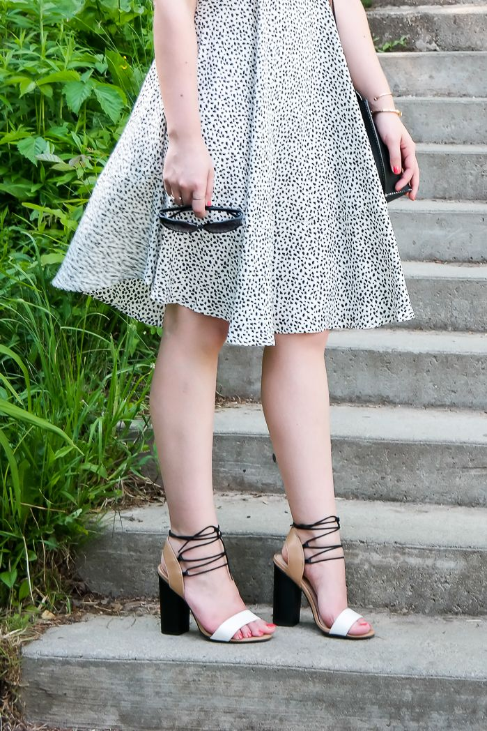 Call it Spring Hussey Closet Full Of Thrills: Spots & Lace in Niagara {White & Black Printed Dress + Colour Block Ghillies}