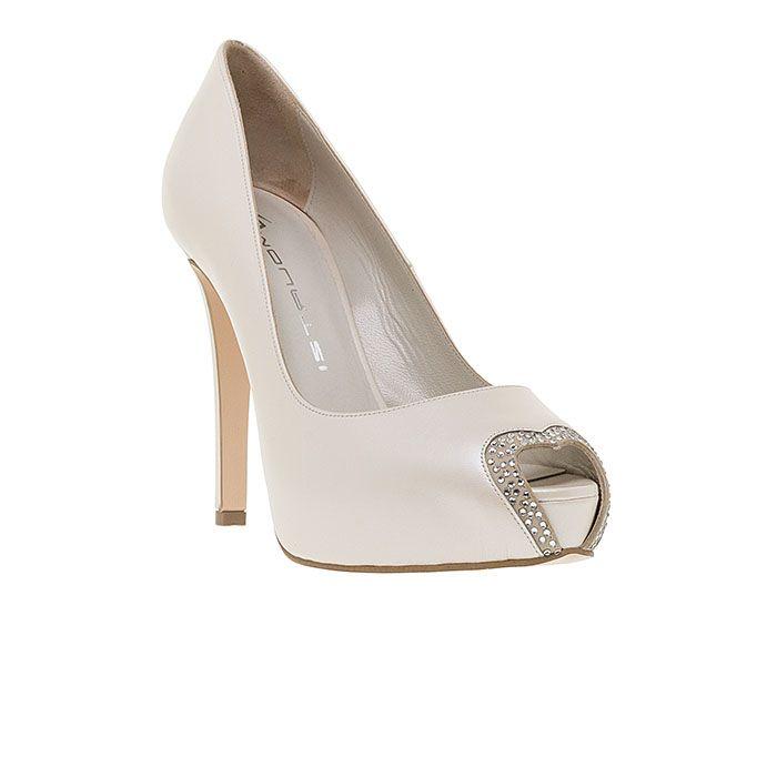 110322-WHITE LEATHERwww.mourtzi.com #peeptoes #heels #mourtzi #bridal #weddingshoes #bride #heart