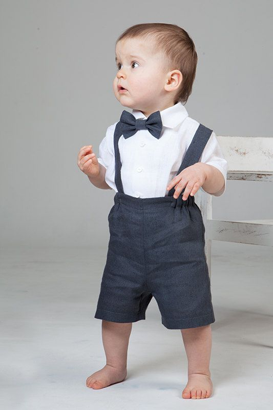 Baby boy linen suit Ring bearer outfit First birthday suspenders outfit Baptism shorts with suspenders Rustic wedding boy formal suit gray