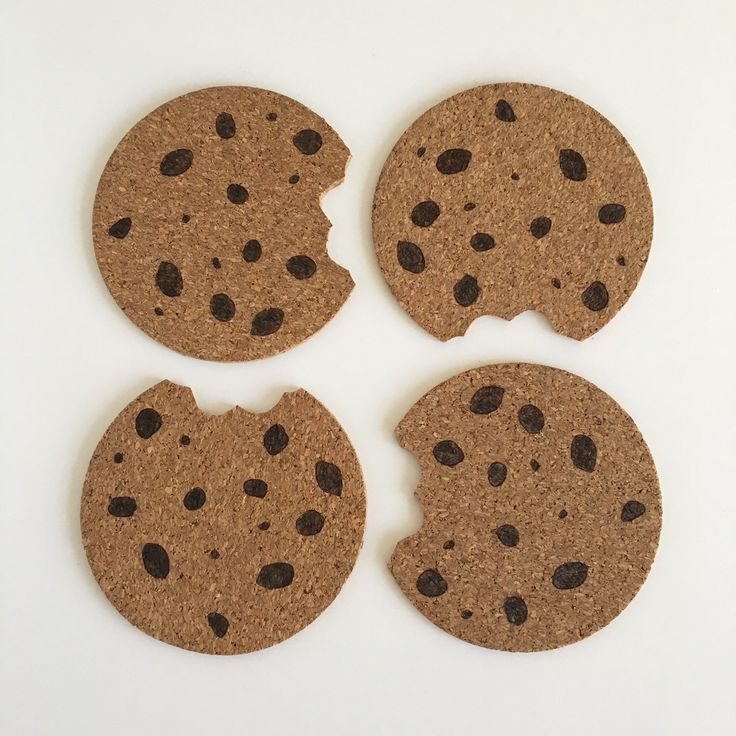 """Chocolate Chip """"Cookie Monster"""" Cork Coasters by HuckleberryHaven on Etsy https://www.etsy.com/ca/listing/268672874/chocolate-chip-cookie-monster-cork"""