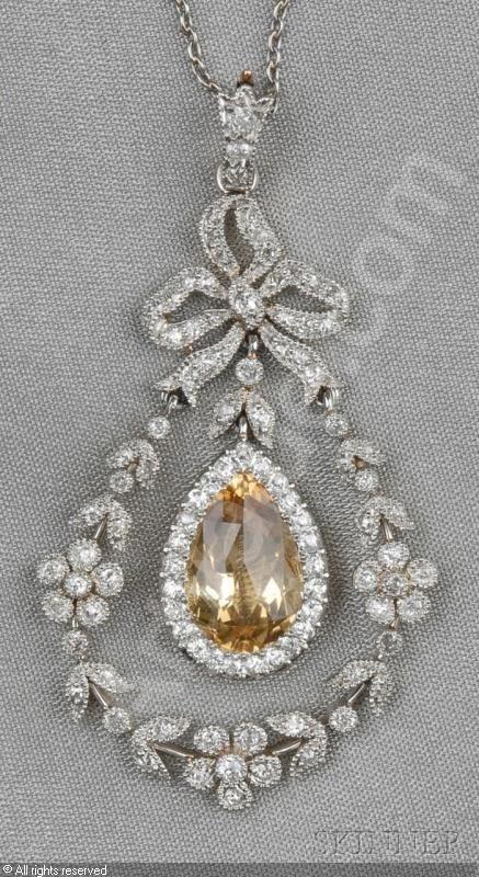 Edwardian Topaz and Diamond Pendant, sold by Skinner, Boston (MA), September 2011