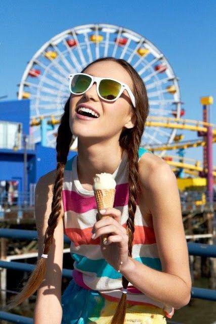 Tween & Teen fashion summer styles/ for forever 21/ Hair, Fishtail braids /   California Beach Fashion Styles: Retro and Mod. Photography, Wes Klain.  Model Juliet Larsen.