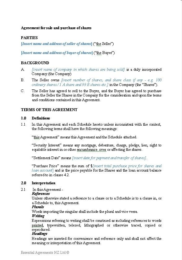 Describe the company, assets, and/or stock being transferred. Share Purchase Agreement Template Nz Here S What No One Tells You About Share Purchase Agree Contract Template Purchase Agreement Personal Financial Statement