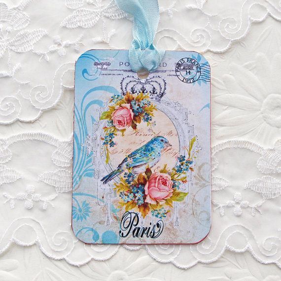 Bird Tags Gift Hang Party Paris Blue Bird by EnchantedQuilling