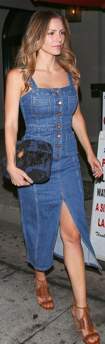 Katherine McPhee's denim dress, clutch handbag, and brown sandals?