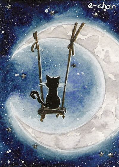 Moon Dweller by AmedamaCherry =^.^= #gato #cat #chat #Luna #Moon #Lune #negro #black