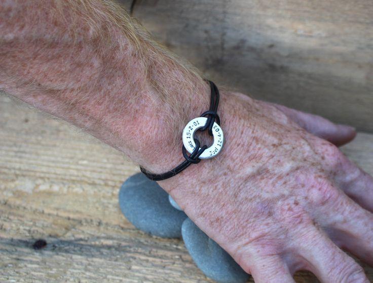 mens message bracelet mens custom leather bracelet silver bracelet for him anniversary for man silver message bracelet custom bracelet by DizzyDayDreamz on Etsy