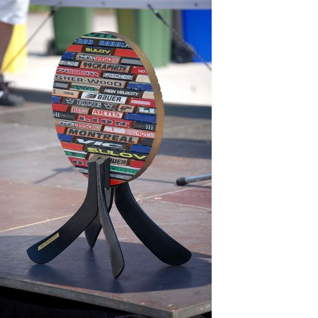Trophy - made of used hockey sticks