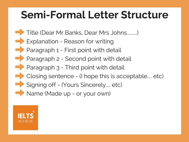 how to write a semi formal letter ielts semi formal letter structure