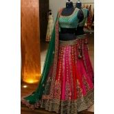 Red And Green Heavy Embroidered Lehenga
