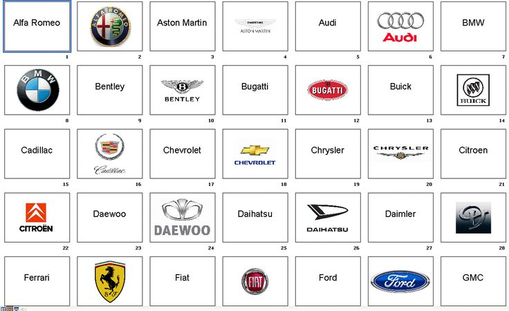 Cars Names   Download the flashcards :