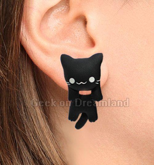 Black Cat Clinging Earrings de GeekonDreamland en Etsy
