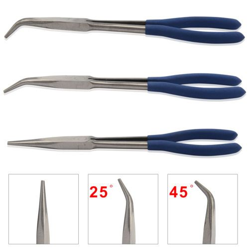 3x 11 Extra Long Nose Pliers Set Straight Bent Tip