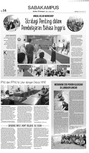 Layout Kabar Priangan Halaman Saba Kampus, Rabu 8 Maret 2017 | LAYOUT KABAR PRIANGAN