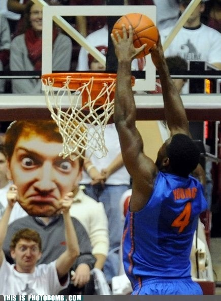 The best thing to bring when you have fantastic seats to a basketball game! XD: Face, Guy, Funny Stuff, Humor, Funnies