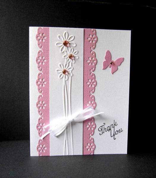 handmade card ... pink and white ... embossing folder flower design on mat with lace pattern borders ... pretty card!