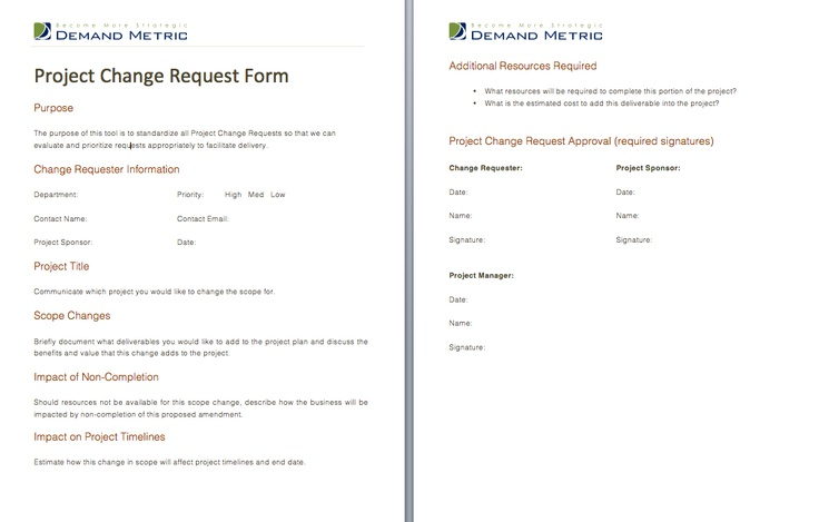 Project Change Request Form - A form to approve project change - change request form