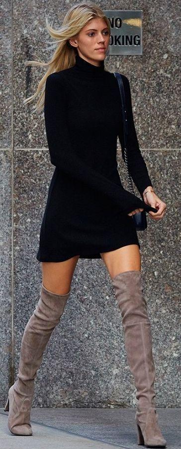 Black flare Dress & Stuart Weitzman, Highland Boots / fall to Winter Style.