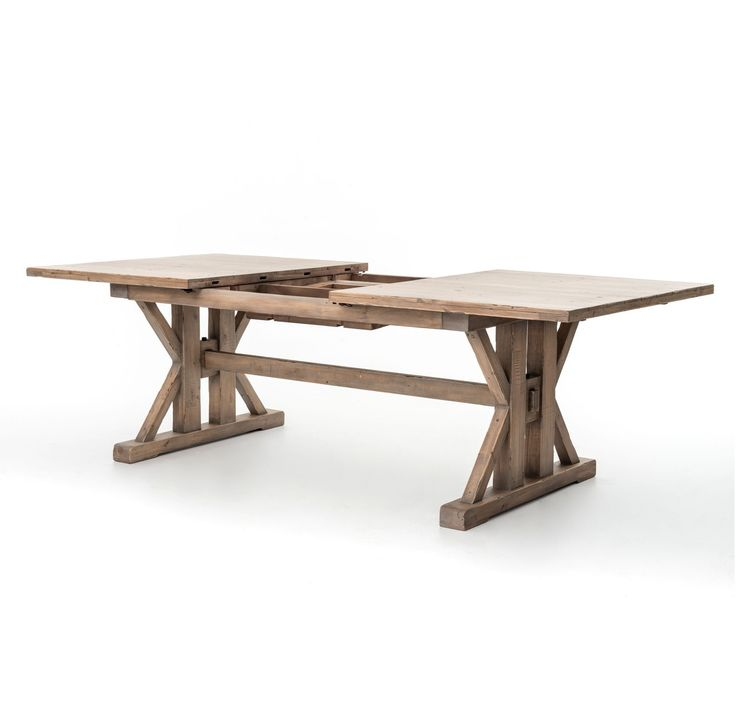 (http://www.zinhome.com/coastal-natural-wood-trestle-extension-dining-table-96/). Dimensions: 72W-96W x 44D x 31H  $1100