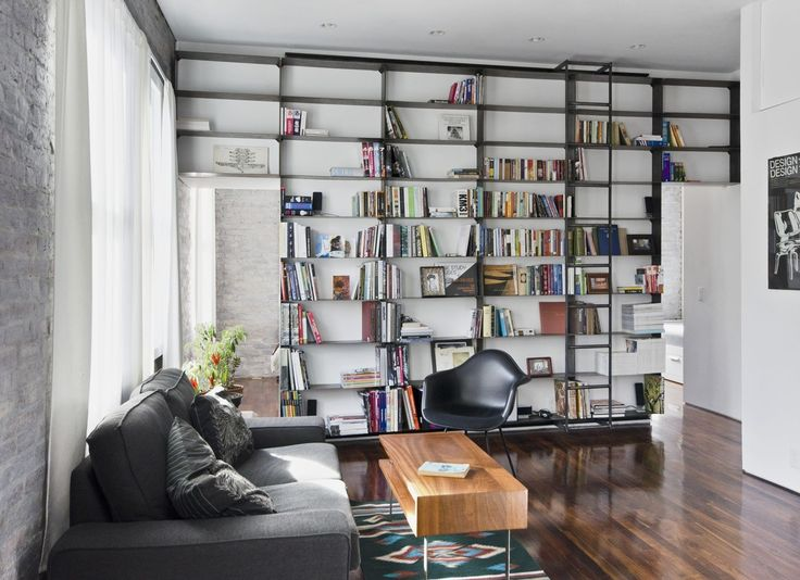 Custom Made Minimal Blackened Steel Bookshelves With