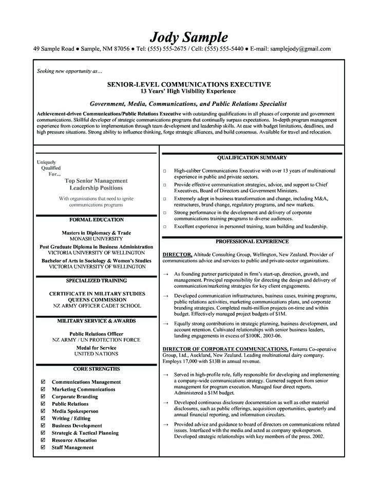 Corporate Resume Examples Corporate Communication Executive