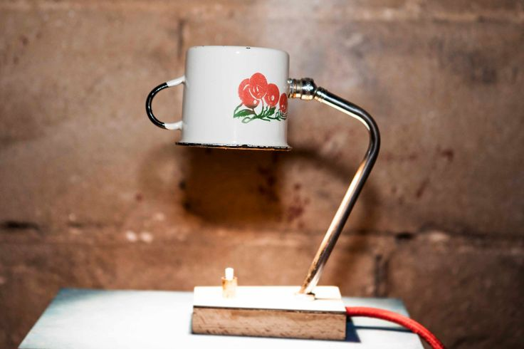 Table Upcycled Steampunk Vintage Miniature Enamel cup Lamp by StudiORYX on Etsy