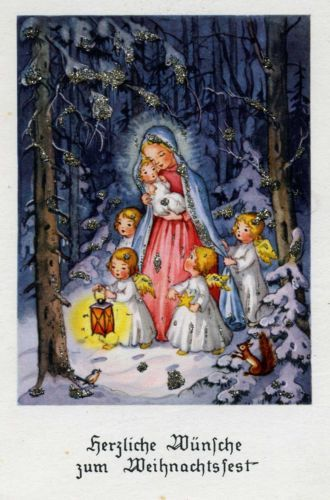 Karte-AFKH-Krüger - Mother Mary with Baby Jesus and angels in the snowy forest
