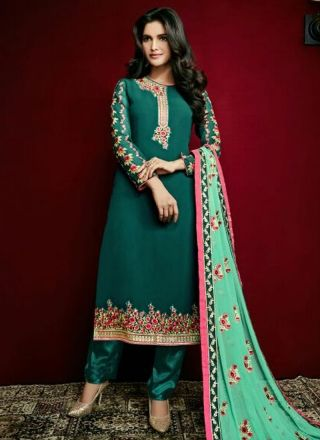 Green Embroidery Booti Work Georgette Santoon Designer Pakistani Suit http://www.angelnx.com/Salwar-Kameez/Pakistani-Suits