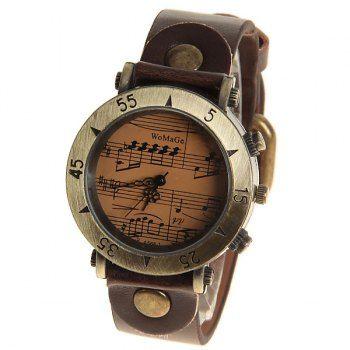 De las mujeres de WoMaGe Números de relojes y sus Triángulos marcas de la hora con la Ronda banda de cuero Dial - Dark Brown para Vender - La Tienda En Online IGOGO.ES