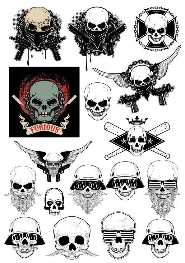 Gangster Skull Free Vector cdr Download in 2019   BONES   Gangsta