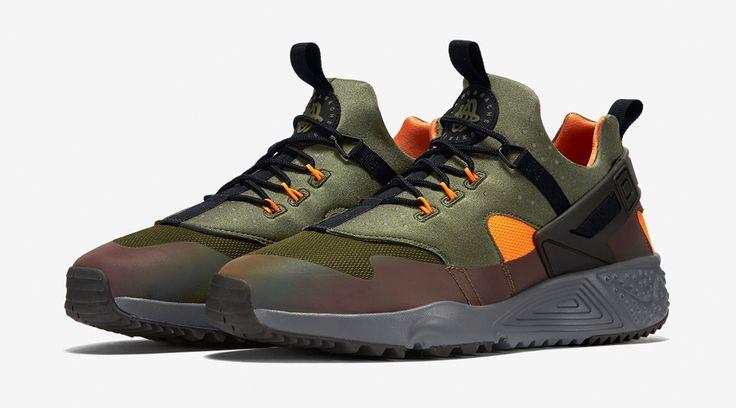 The Nike Air Huarache Utility Olive and Orange colorway