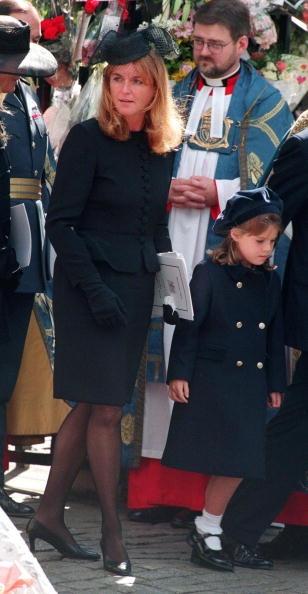 Princess Eugenie and Sara of York at Princess Diana's funeral