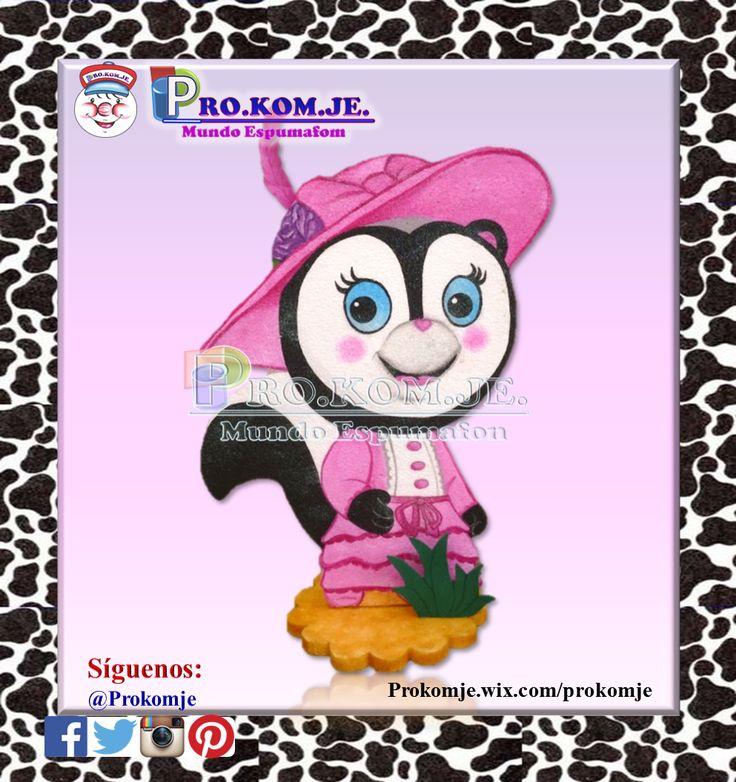 Aplique de telgopor Priscilla Skunk (personaje de Sherrif Callie) tamaño  60cm. de alto