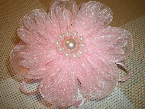 Нежный цветок-резинка для волос из органзы своими руками./ DIY Flowers - YouTube