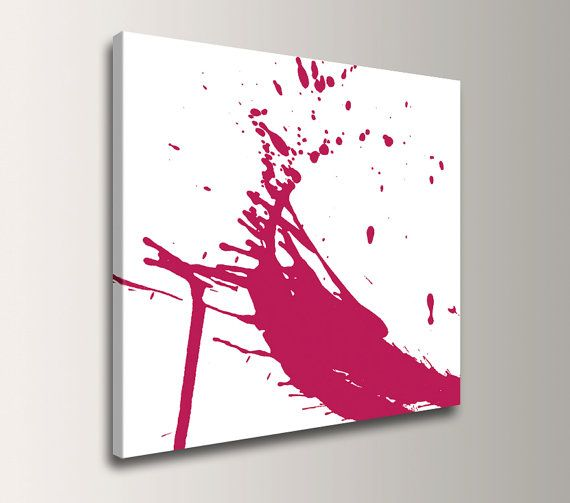 Red and White Art  Canvas Print  Paint Splat  by TheModernArtShop,