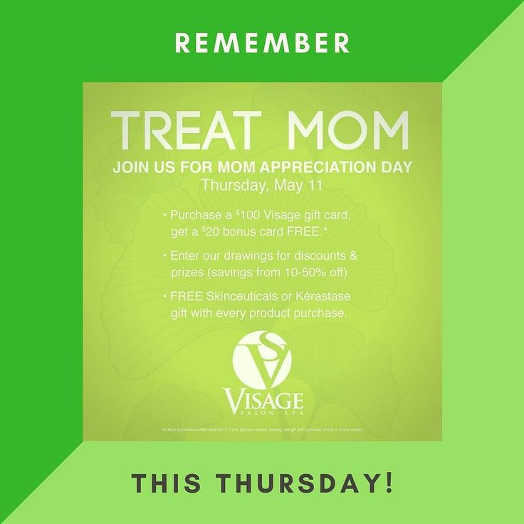 Don't forget: This Thursday we are hosting a Mother's Appreciation Day at Salon & Spa Visage!  There will be gifts & drawings in-store as well as a great deal on Visage gift cards ($20 free Visage Bucks for every $100 gift card purchase) in-store AND online. We will also be announcing our Facebook contest winner (see pinned post on our FB page for details on how to enter! There's still time to win!)  See you on Thursday! #visagemoments #mothersday2017