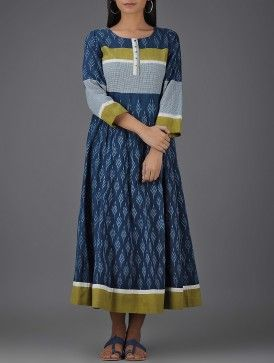 Indigo-Olive Handloom Ikat Cotton Dress