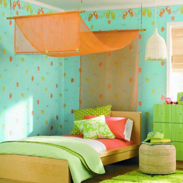 frische grüne wände schlafzimmer betthimmel orange