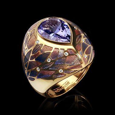 Mousson atelier, Four Seasons collection, ring, Yellow gold 750, Tanzanite 3,67 ct., Diamonds, Enamel
