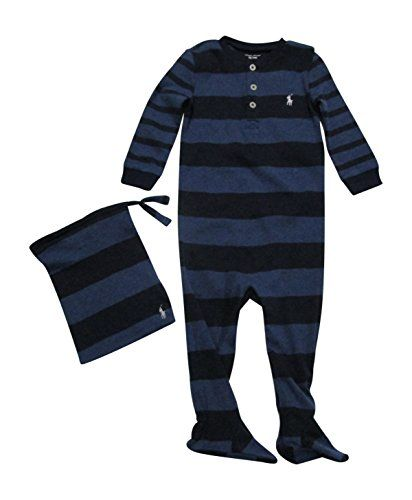 09bc27653 New RALPH LAUREN Baby Boys  Cotton Pajamas Footed Coverall Bodysuit ...