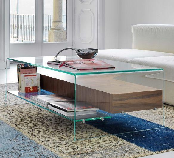 Couchtisch Glas Regale Zeitschriften Holz Modernes Wohnzimmer