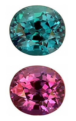 //Alexandrite has an unusual phenomenon - it changes color!. The finest alexandrite is a bright green but when put in candlelight or any reddish light, the stone changes to a bright red. Alexandrite is said to stimulate pleasure and love. It is also used as a lucky stone. Sources of Alexandrite The two most important sources of alexandrite in the world today are Brazil and Sri Lanka.