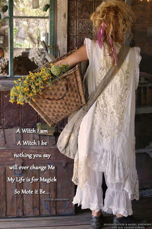 A witch I am, A witch I be, nothing you say, will ever change Me. My Life is for Magick. So Mote it Be. Thanks to Old Crones Corner for the share!