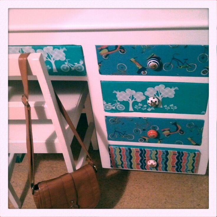 Decoupage desk, done