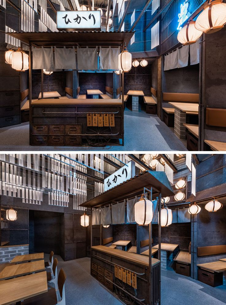 Industrial Interior Design - This Restaurant and bar goes for a warehouse chic style with metal, concrete, and wood. In this modern Japanese restaurant, a small food stand sits in the middle of the dining area to help recreate an authentic dining experience similar to those that take place in Tokyo.