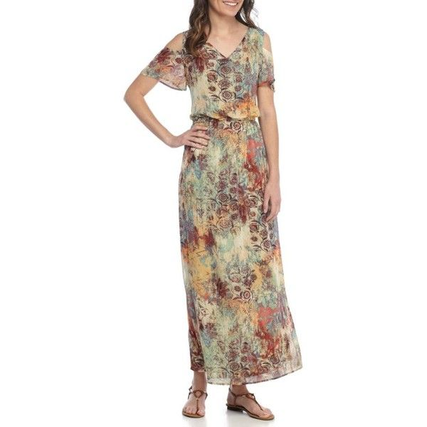 Nine West Sand Dune Combo Cold Shoulder Printed Maxi Dress - Women's ($80) ❤ liked on Polyvore featuring dresses, sand dune combo, brown maxi dress, nine west, cold shoulder maxi dress, cold shoulder dresses and sleeved dresses