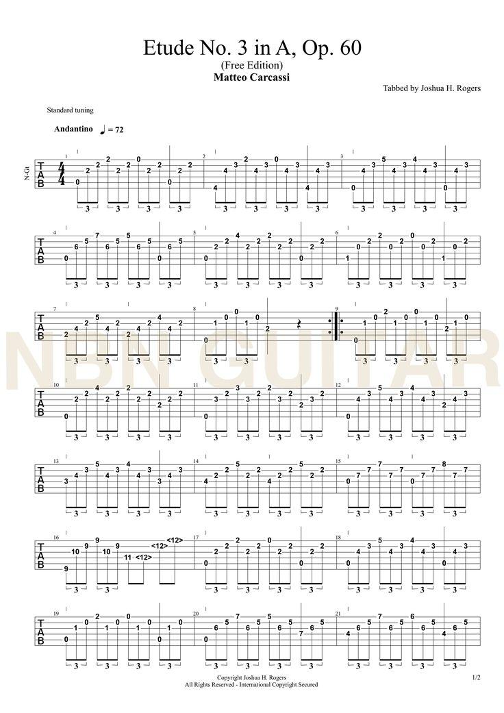 Etude No. 3 in A major Op. 60 - Matteo Carcassi Classical Guitar Tabs