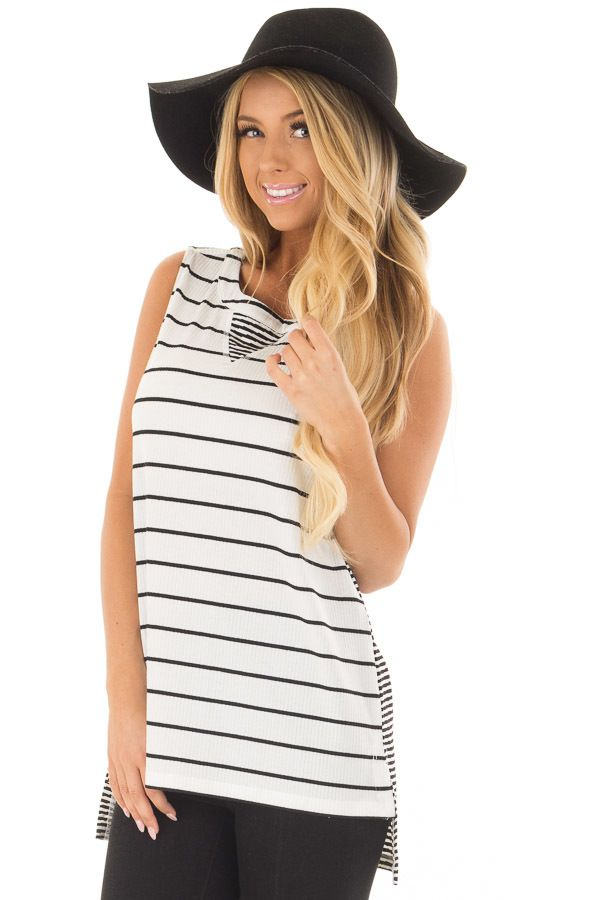 Lime Lush Boutique - Ivory and Black Striped Tank Top, $38.99 (https://www.limelush.com/ivory-and-black-striped-tank-top/)
